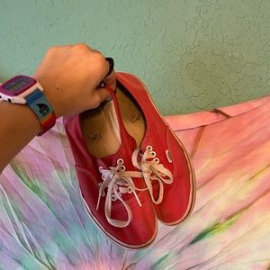 {Vans} red lace up sneakers